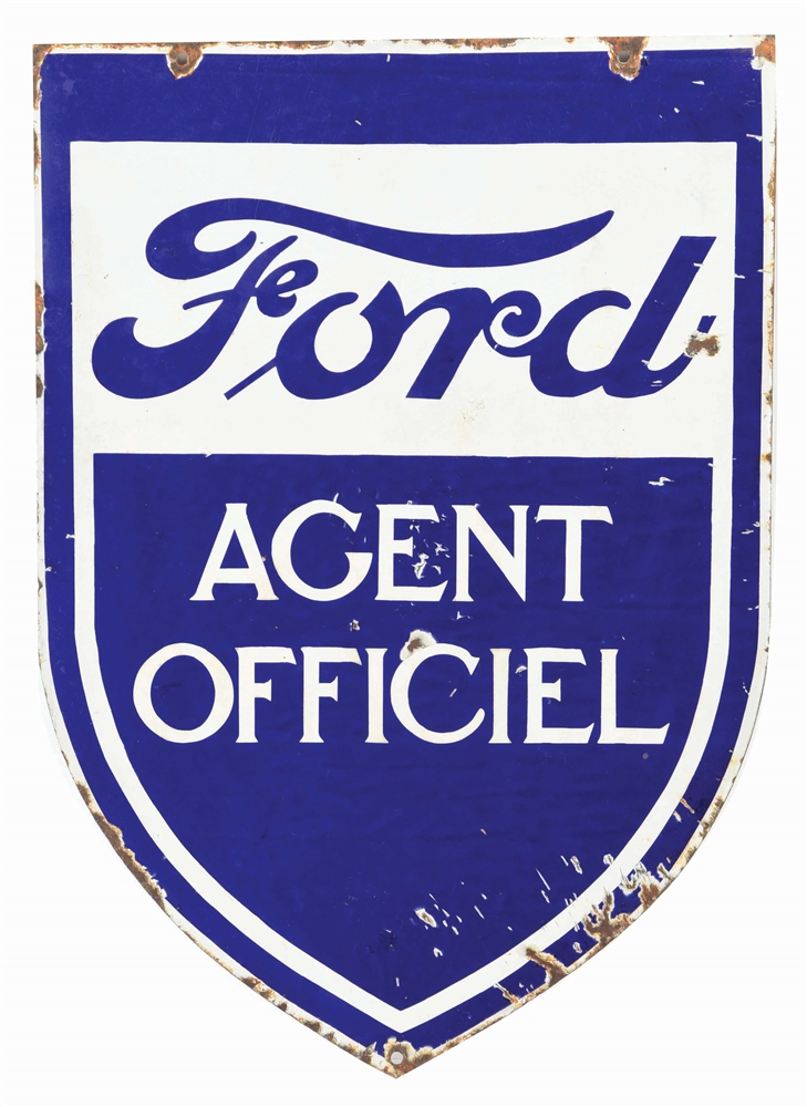 FORD MOTOR CARS OFFICIAL AGENT DIE CUT PORCELAIN SIGN.