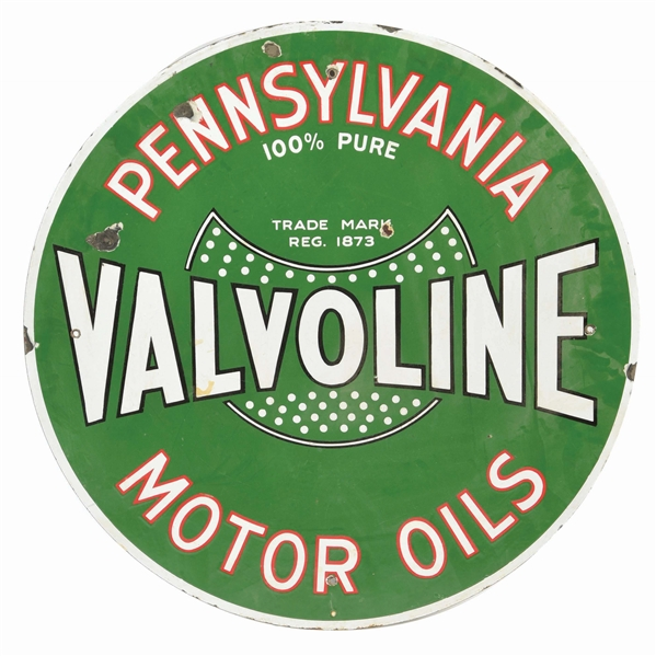 RARE VALVOLINE PENNSYLVANIA MOTOR OILS PORCELAIN CURB SIGN.