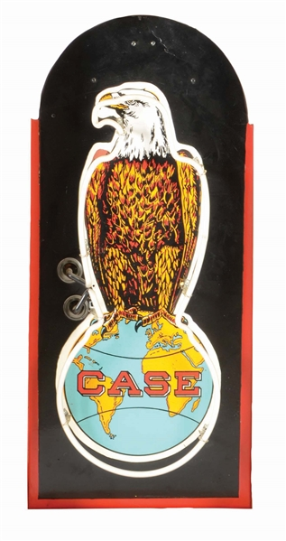 CASE EAGLE PORCELAIN NEON SIGN ON METAL CAN.