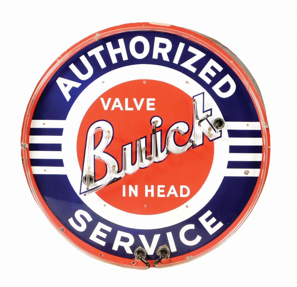 BUICK VALVE IN HEAD AUTHORIZED SERVICE PORCELAIN NEON SIGN ON METAL CAN.