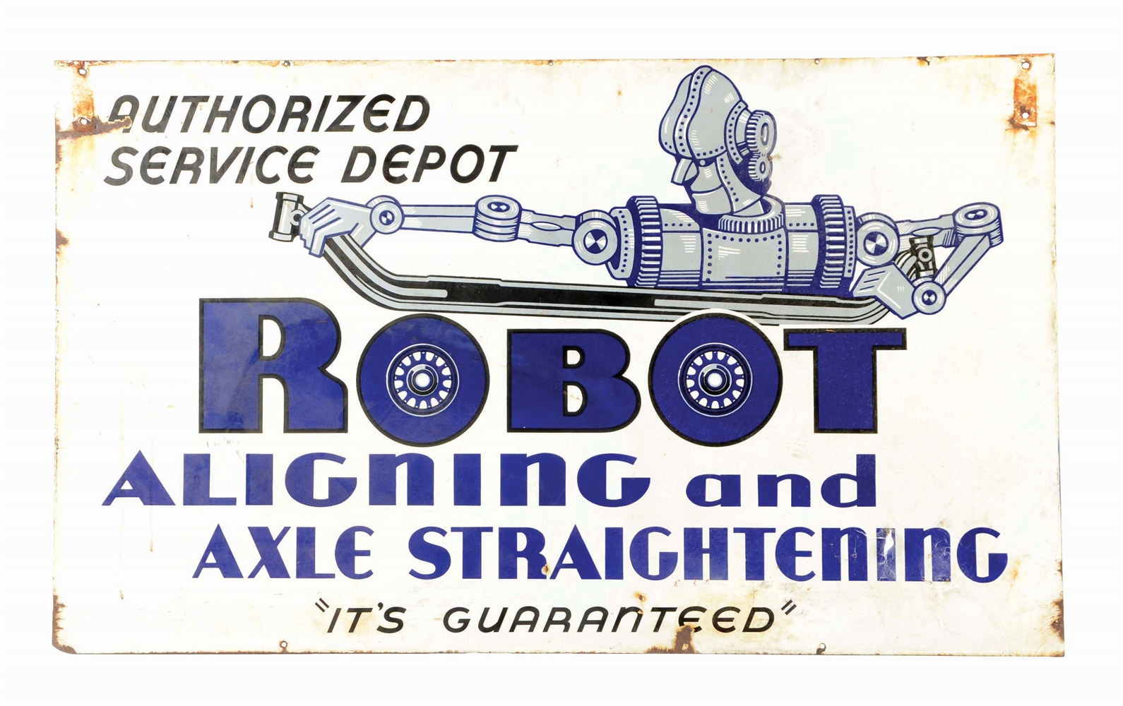 RARE ROBOT ALIGNING & AXLE STRAIGHTENING PORCELAIN SIGN W/ ROBOT GRAPHIC.