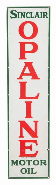 SINCLAIR OPALINE MOTOR OIL VERTICAL PORCELAIN SIGN.