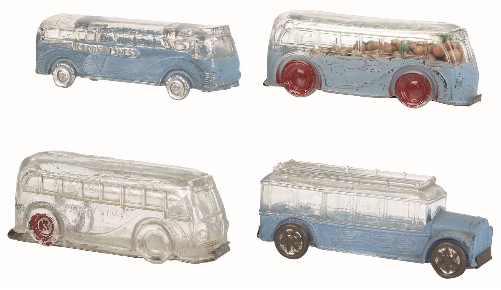 Lot of 4: Bus Candy Containers.