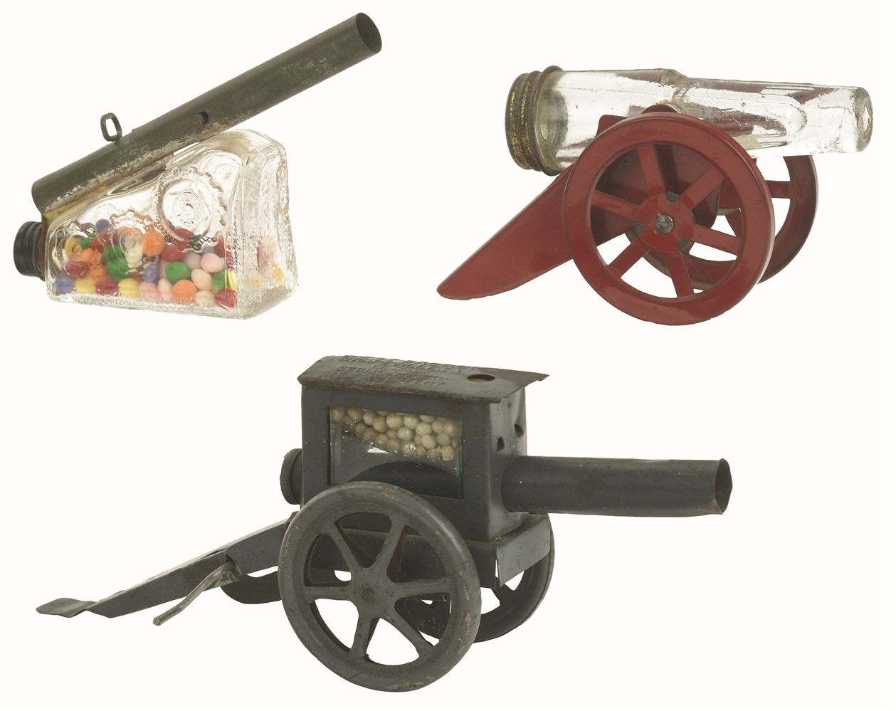 Lot of 3: Cannon Candy Containers.
