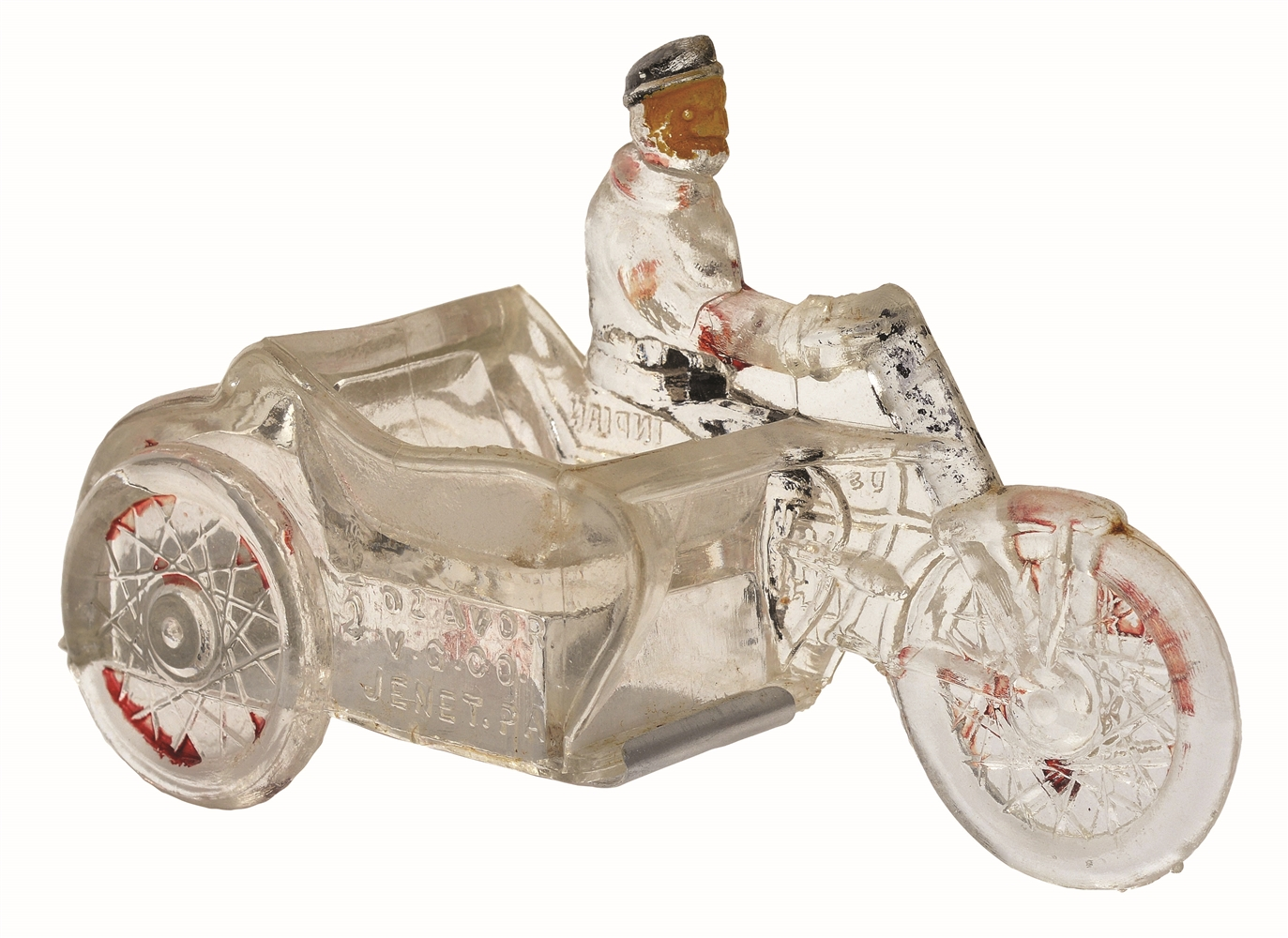 Man on Motorcycle Candy Container.