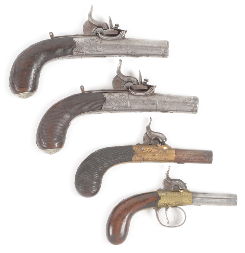 (A) LOT OF FOUR: FOUR TRYON SINGLE SHOT PERCUSSION BOOT PISTOLS, ONE PAIR..