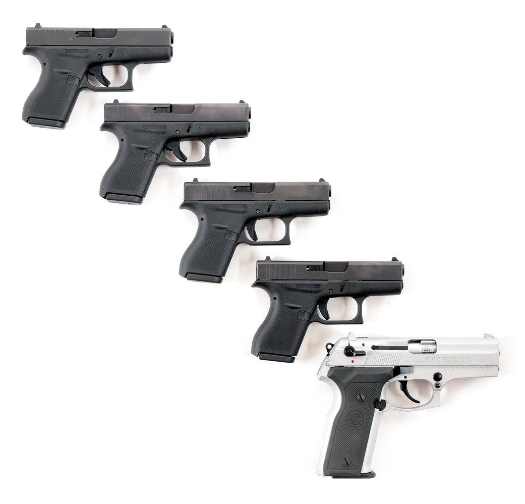 (M) LOT OF FIVE: FOUR POLICE GLOCK 42 AND STOEGER COUGAR 8040F SEMI AUTOMATIC PISTOLS.
