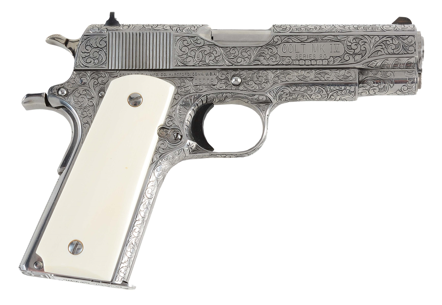 (M) MASTER ENGRAVED COLT SUPER COMMANDER .38 SUPER SEMI-AUTOMATIC PISTOL.