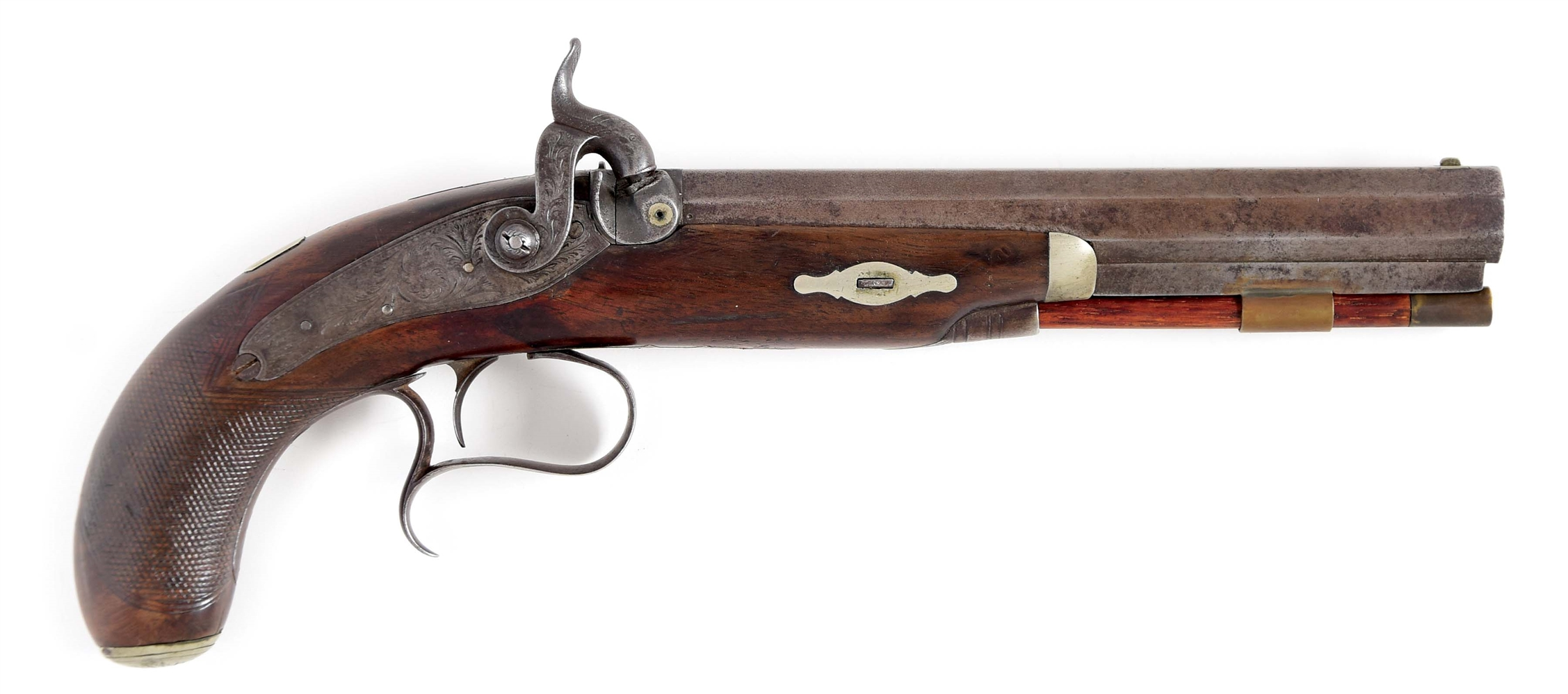 (A) LARGE DERINGER STYLE AMERICAN PERCUSSION PISTOL, SIGNED IN GOLD ON THE BARREL TRYON AMERICAN CO. 1832-1838.