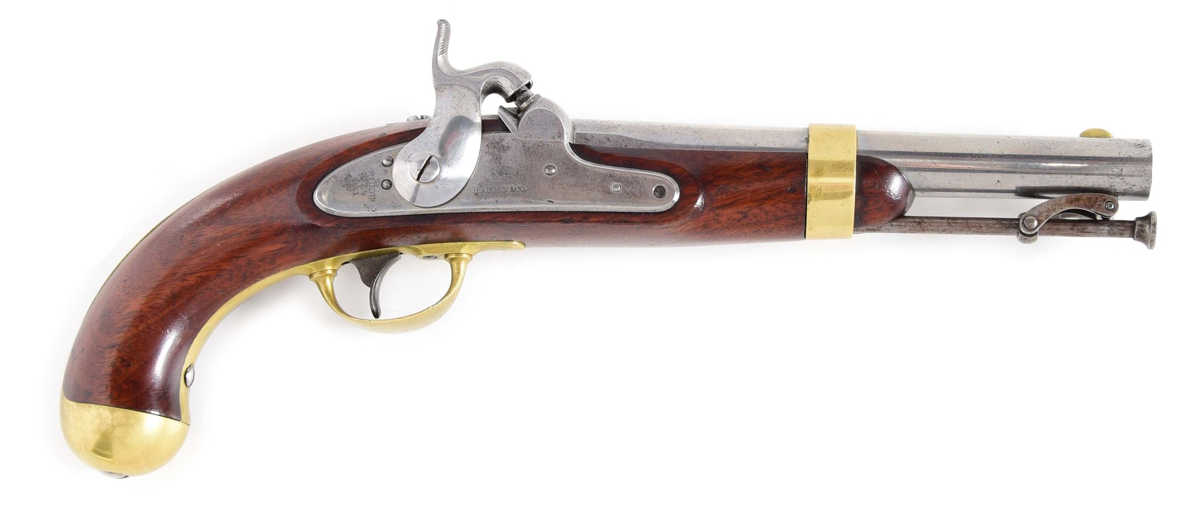 (A) A US MODEL 1842 SINGLE SHOT PERCUSSION PISTOL BY HENRY ASTON DATED 1851.