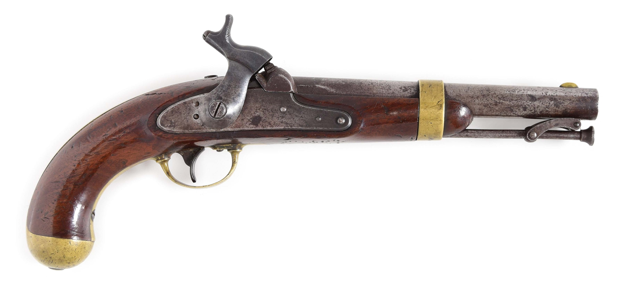 (A) RARE US SINGLE SHOT 1842 MARTIAL PISTOL WITH EXPERIMENTAL SELF-PRIMING HAMMER.