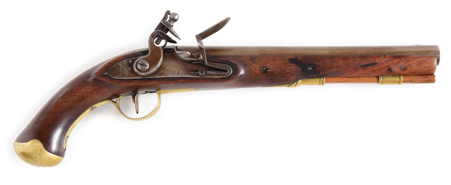 (A) A VERY RARE JOSEPH HENRY CONTRACT SINGLE SHOT US SECONDARY MARTIAL FLINTLOCK PISTOL.