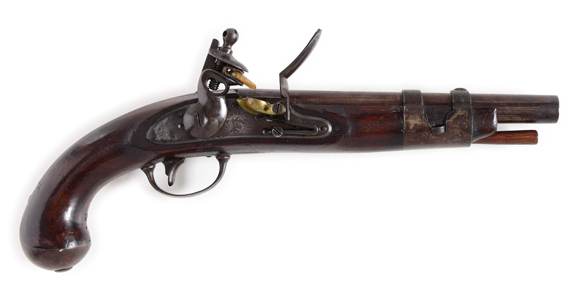 (A) A VERY GOOD US FLINTLOCK SINGLE SHOT MARTIAL PISTOL MODEL 1816 BY SIMEON NORTH.