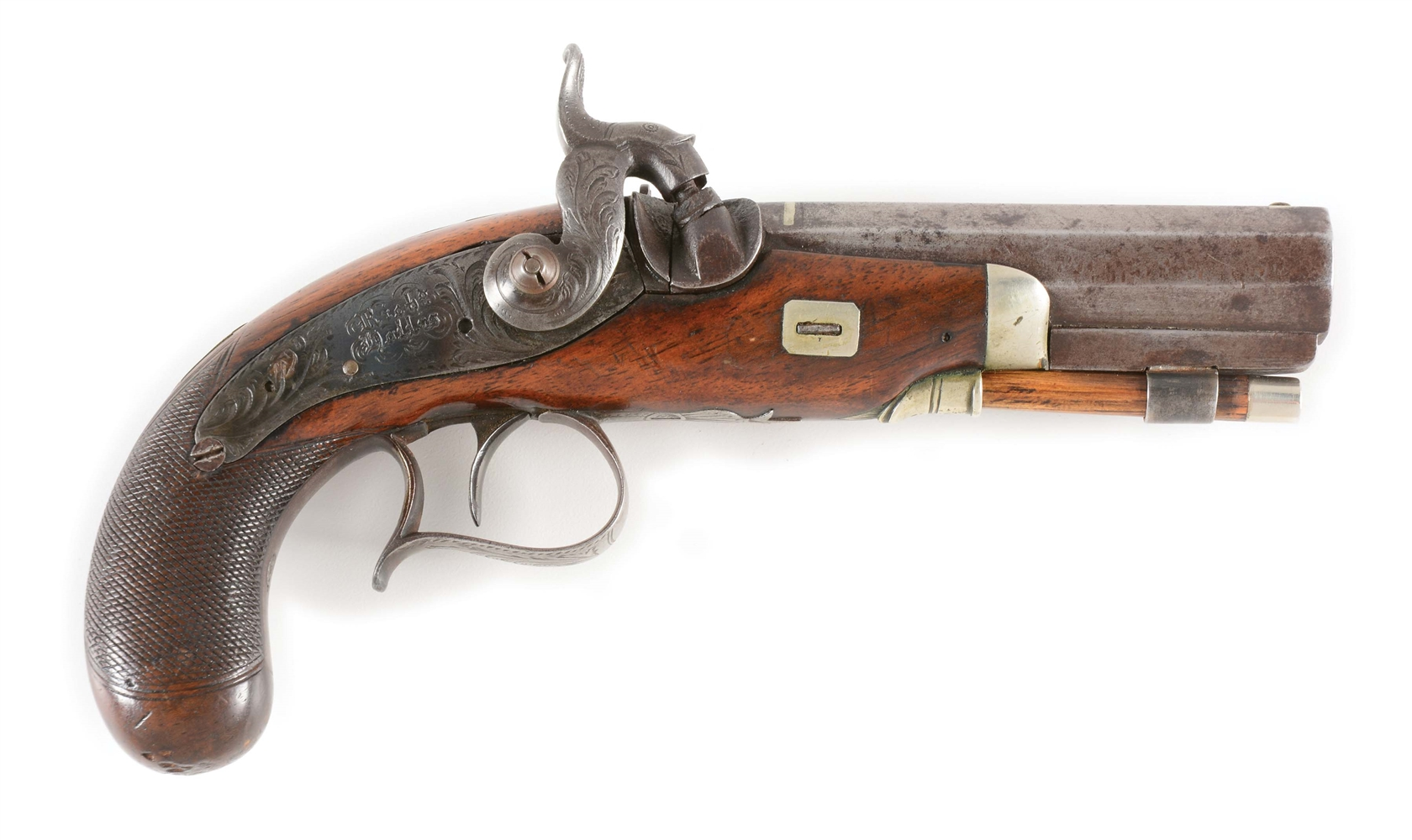 (A) AN ENGLISH DERINGER STYLE PISTOL SIGNED ON LOCK RICHARD HOLLIS, BIRMINGHAM 1847-1853.