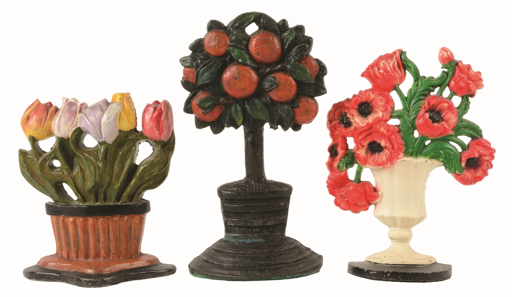 LOT OF 3: CAST-IRON FLOWER DOORSTOPS.