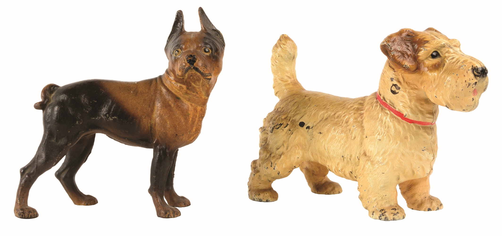 LOT OF 2: CAST-IRON DOG DOORSTOPS.