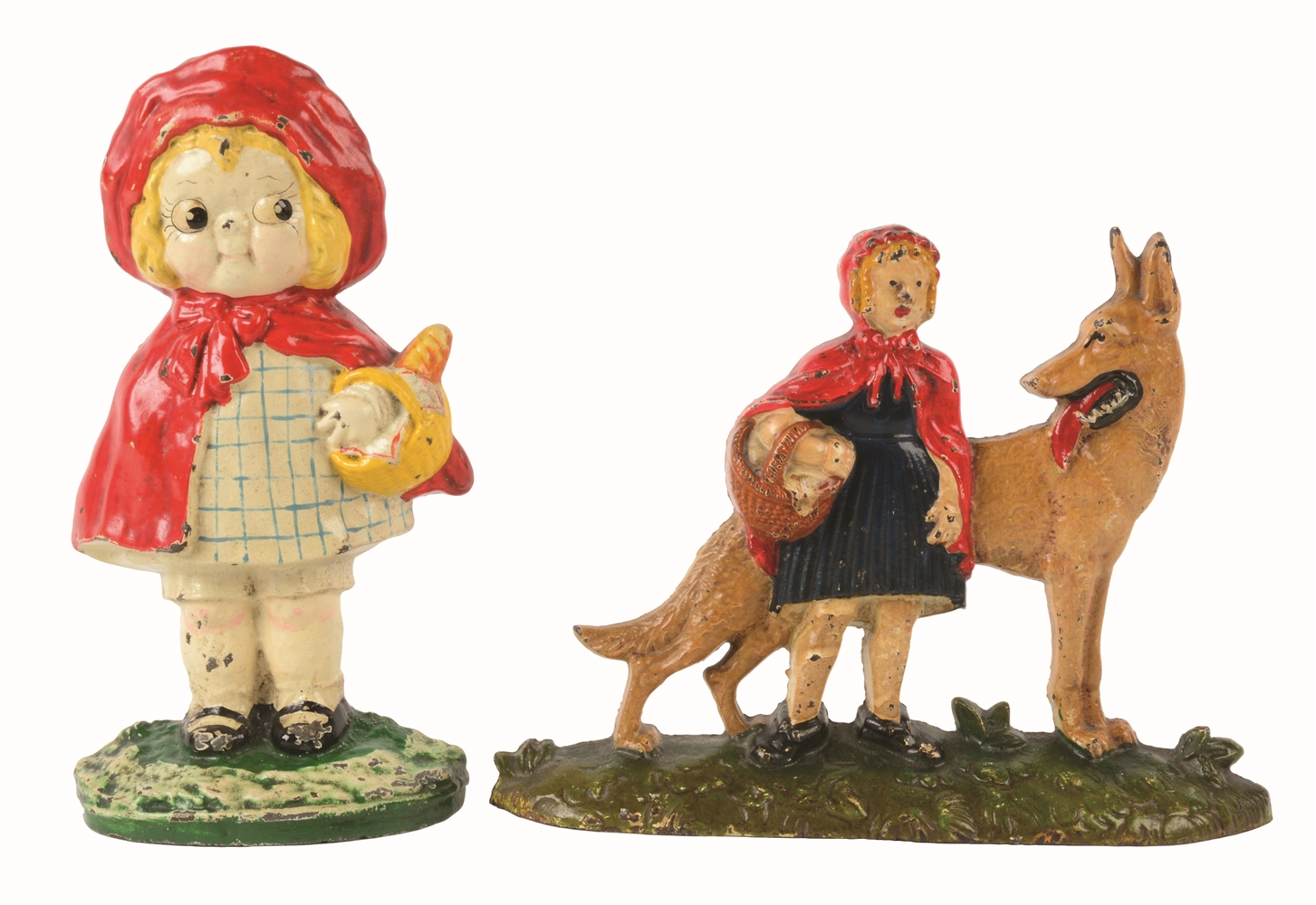 LOT OF 2: CAST-IRON LITTLE RED RIDING HOOD DOORSTOPS.