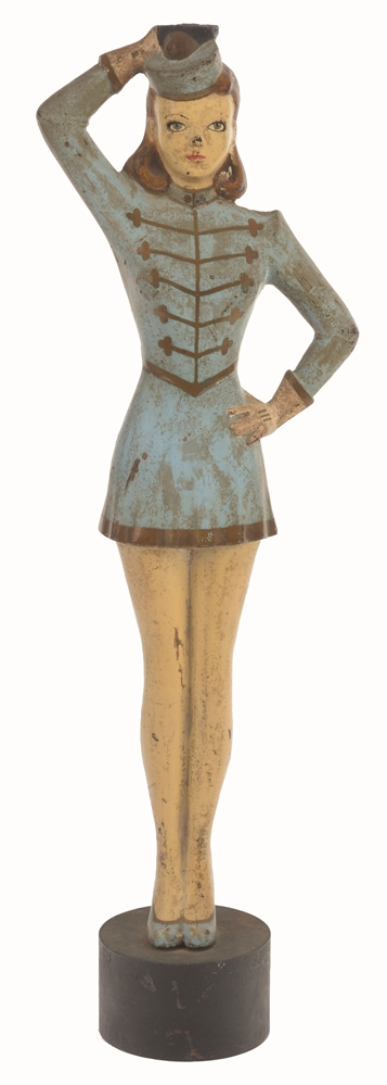 CAST-IRON YOUNG LADY MAJORETTE PARADE LEADER DOORSTOP.