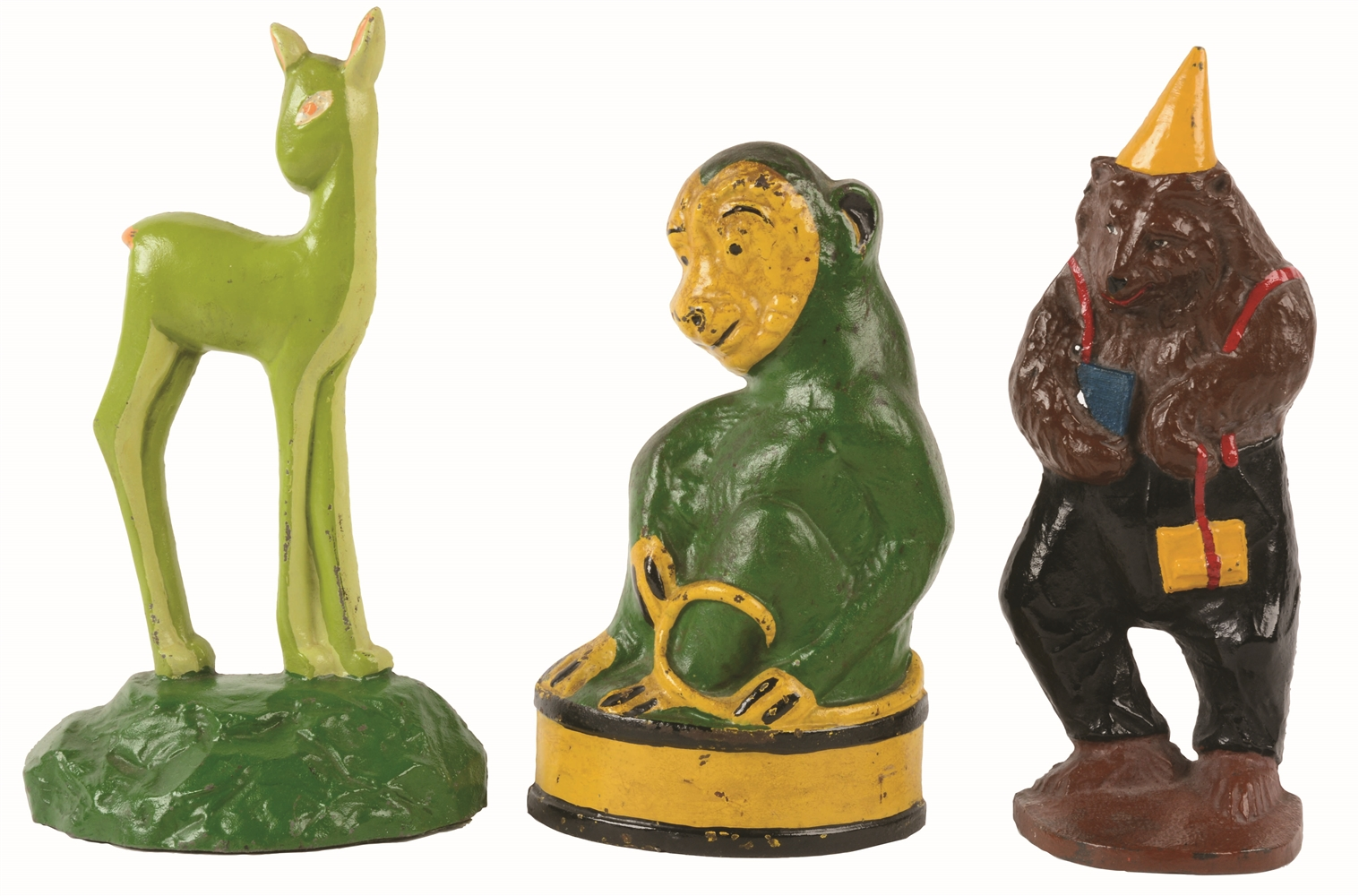 LOT OF 3: CAST-IRON ASSORTED ANIMAL DOORSTOPS.