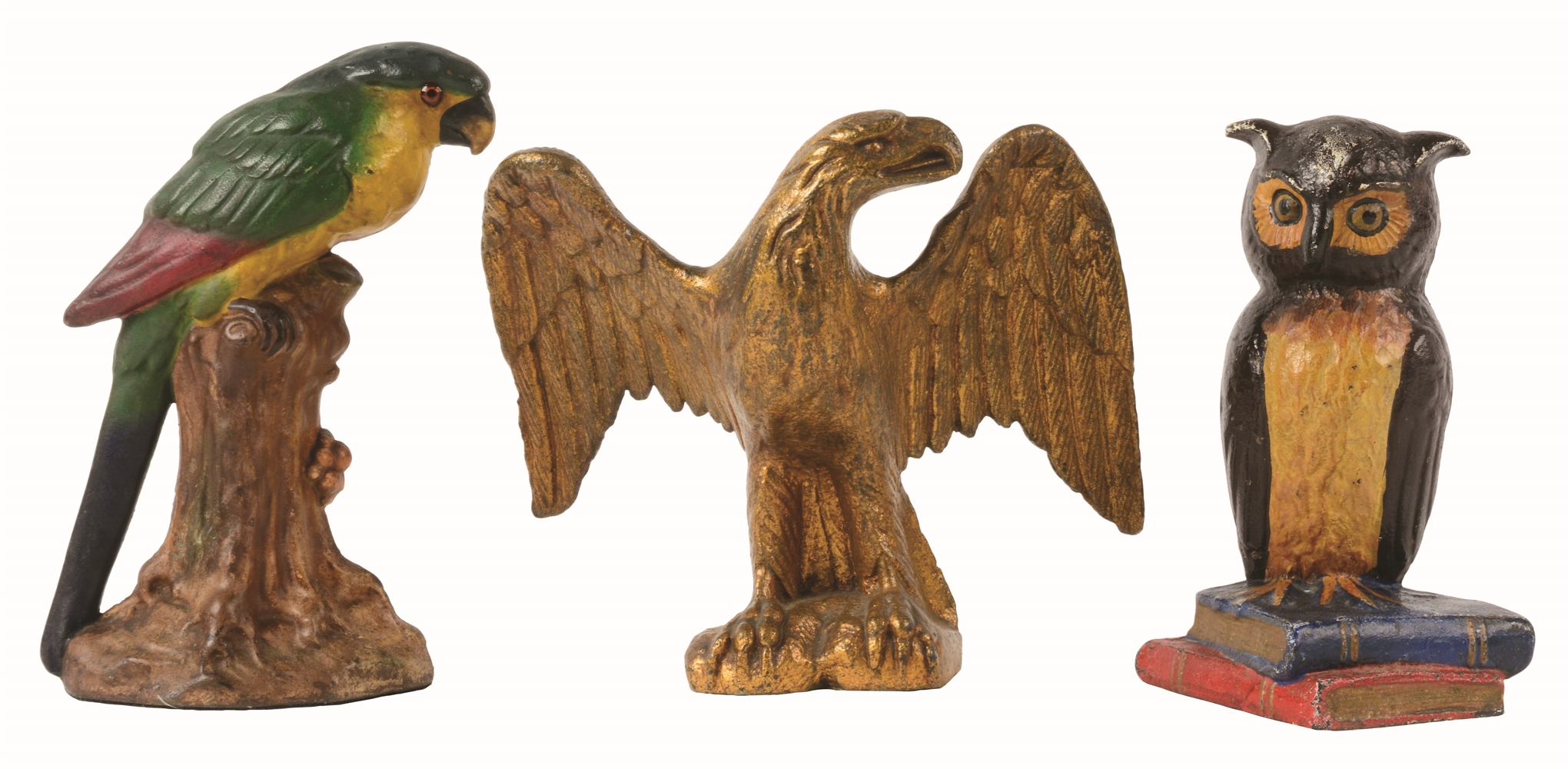 LOT OF 3: CAST-IRON ASSORTED BIRD DOORSTOP.