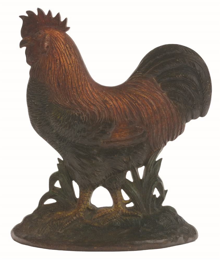 CAST-IRON ROOSTER B&H DOORSTOP.