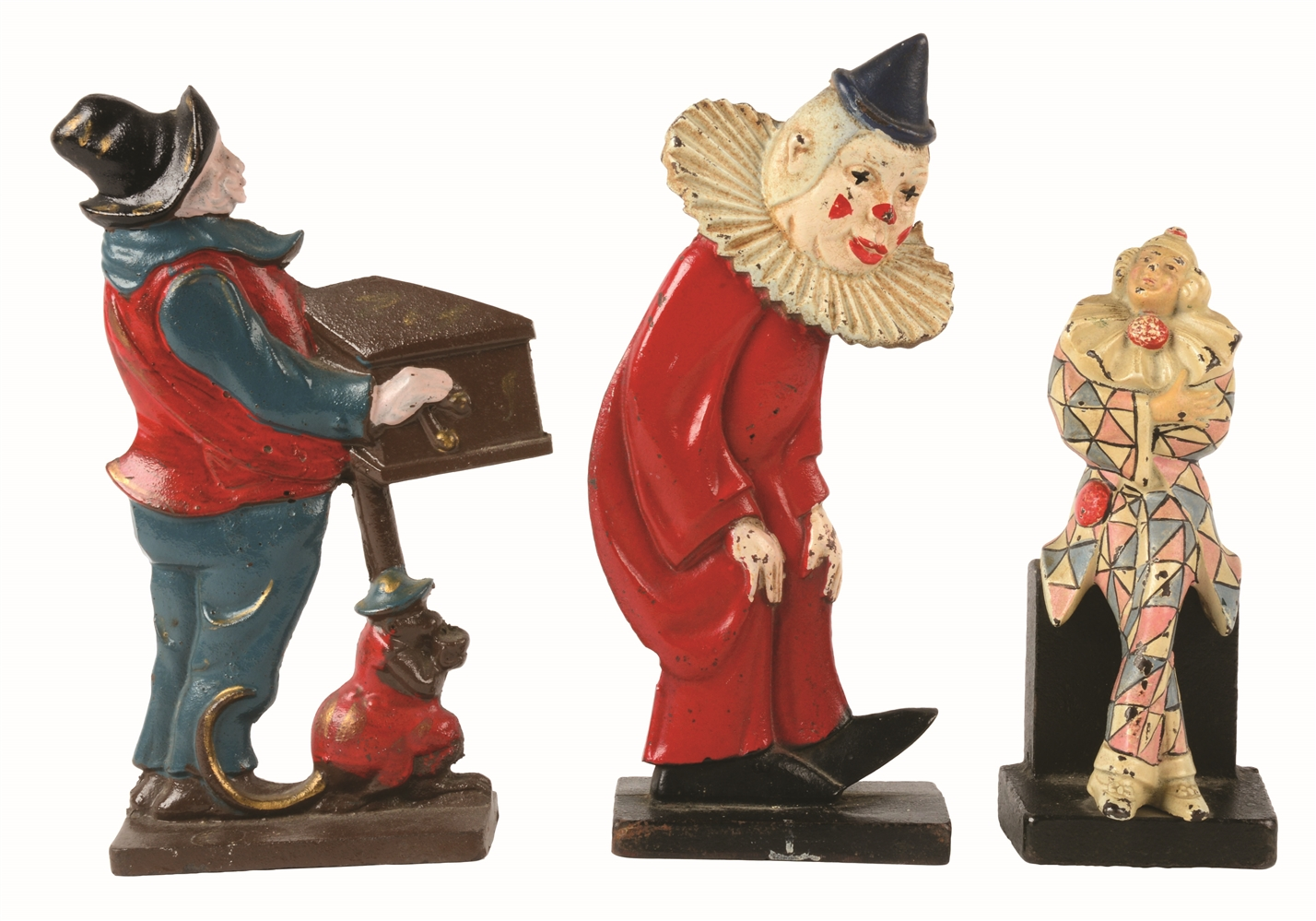 LOT OF 3: CAST-IRON CLOWNS, MONKEY & ORGAN GRINDER DOORSTOPS.