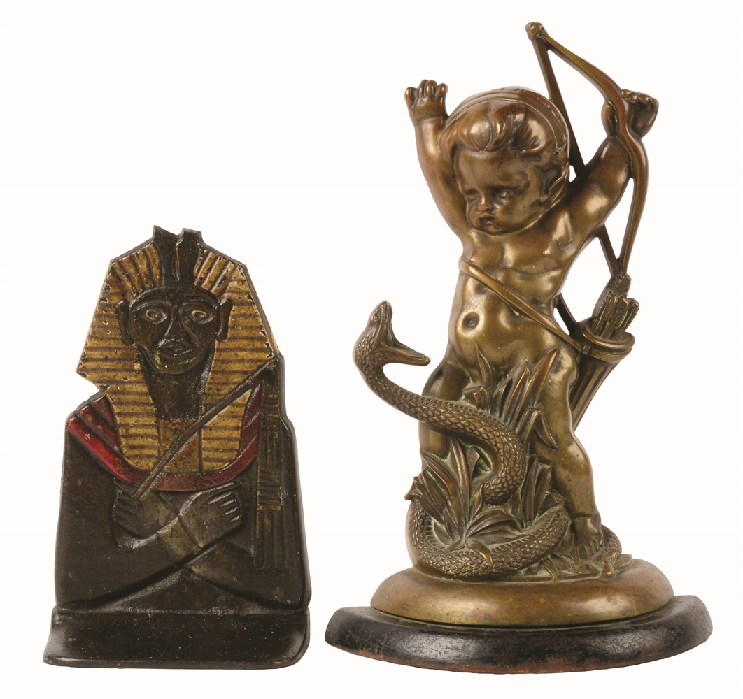 LOT OF 2: CAST-IRON & BRASS FIGURE DOORSTOPS.