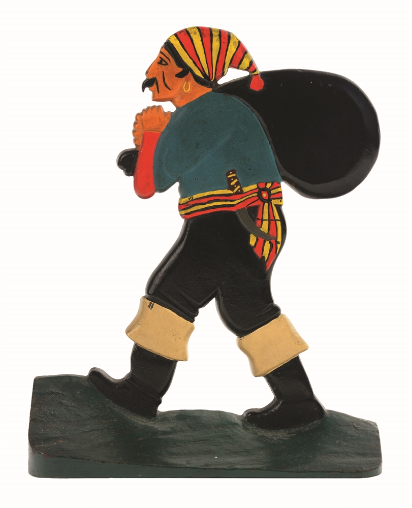 CAST-IRON OVERSIZED PIRATE WITH SACK DOORSTOP.