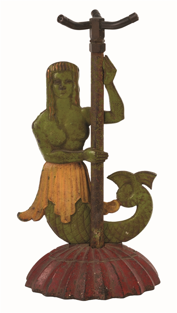 CAST-IRON MERMAID LAWN SPRINKLER.