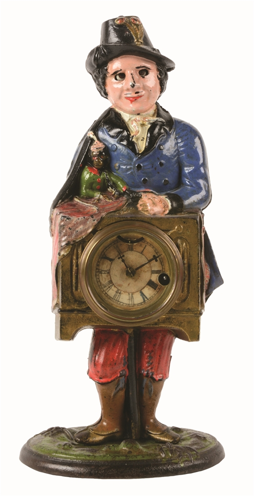 CAST-IRON MONKEY & ORGAN GRINDER BLINKING EYE CLOCK.
