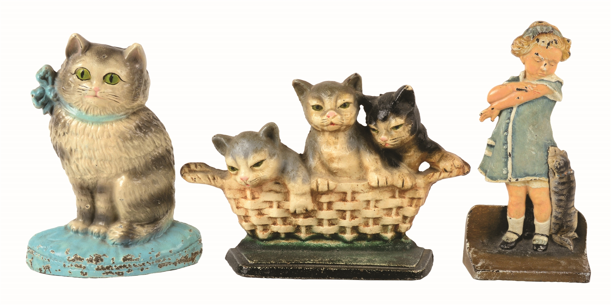 LOT OF 3: CAST-IRON CAT & CAT SCRATCH FEVER DOORSTOP.