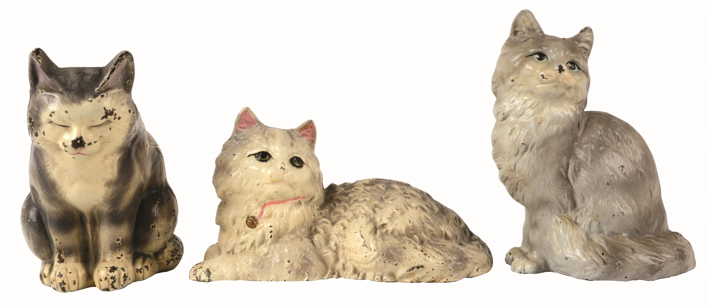 LOT OF 3: CAST-IRON TABBY CAT HUBLEY DOORSTOPS.