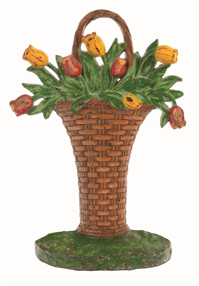 CAST-IRON TULIPS IN WICKER BASKET HUBLEY DOORSTOP.