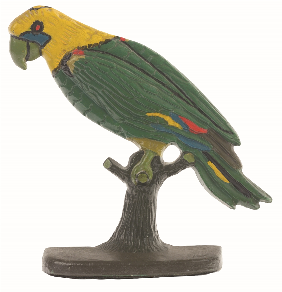 CAST-IRON PARROT ON BRANCH DOORSTOP.