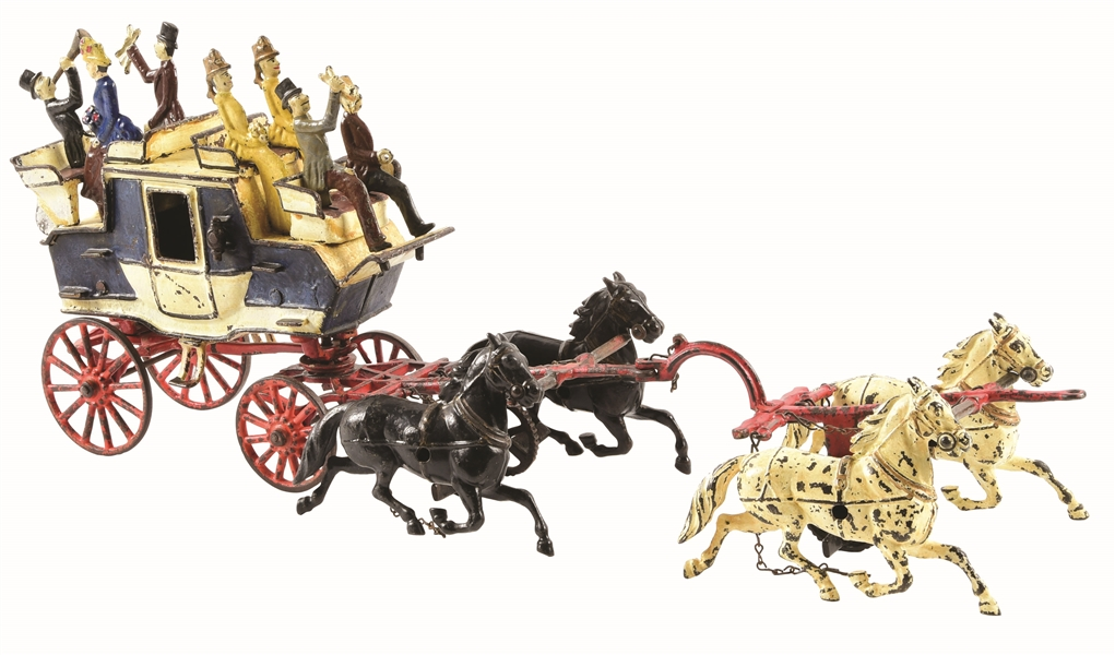 CARPENTER CAST-IRON HORSE DRAWN TALLY HO.