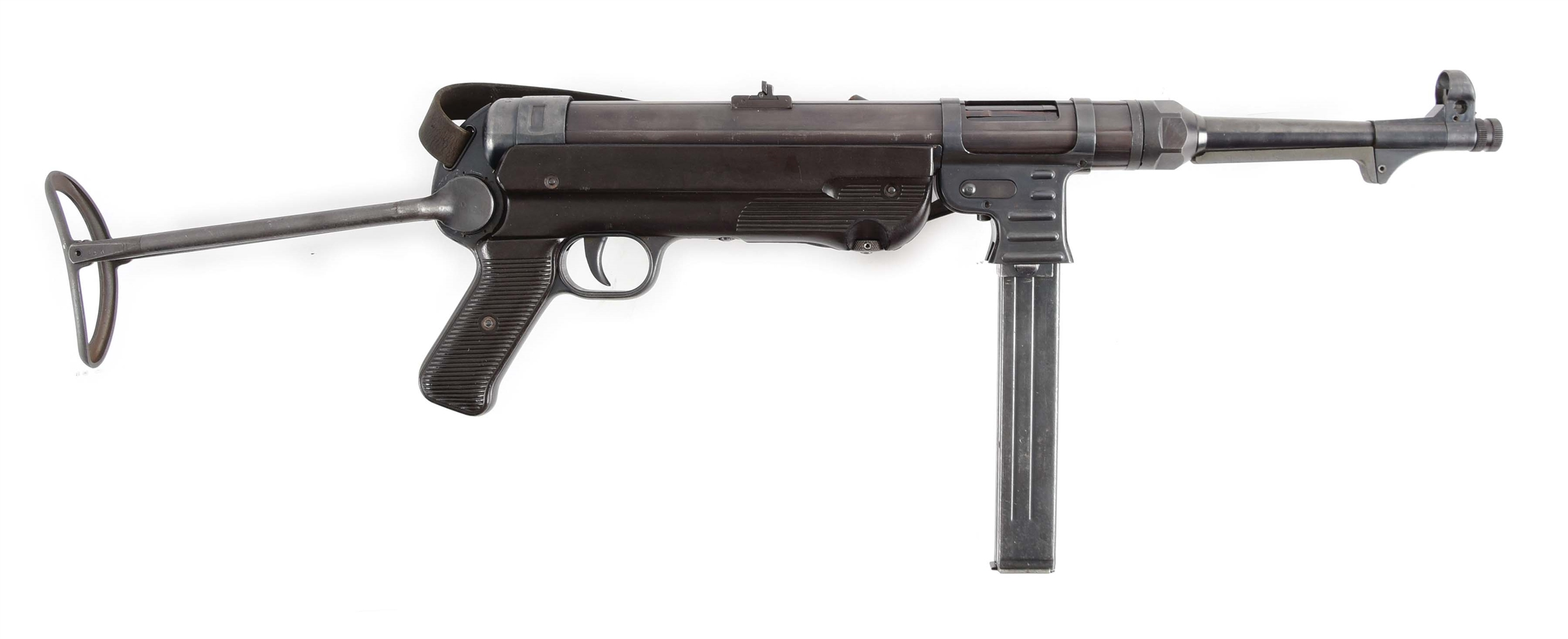 "(N) EXTREMELY ATTRACTIVE MATCHING NUMBERS ""ERB"" REGISTERED TUBE GERMAN WORLD WAR II MP-40 MACHINE GUN (FULLY TRANSFERABLE)."