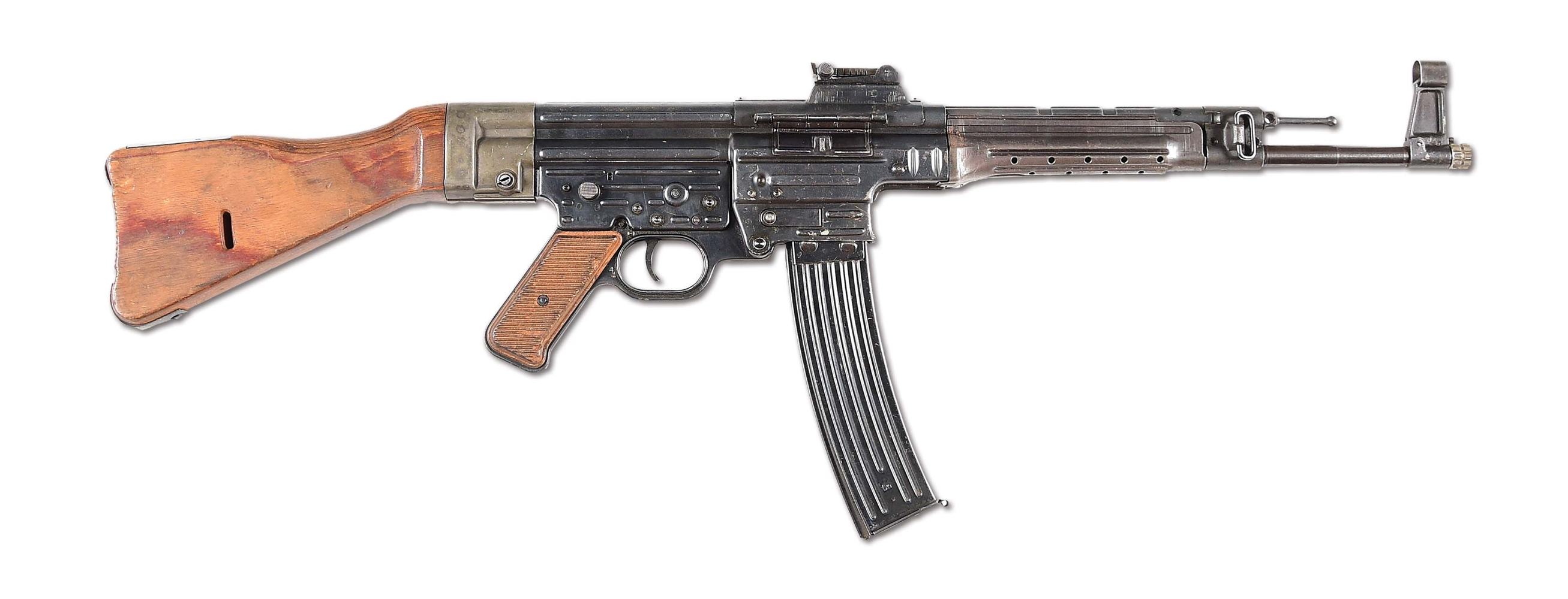 (N) ATTRACTIVE 1945 DATED C.G. HAENEL MANUFACTURED WORLD WAR II GERMAN MP-44 MACHINE GUN (DEACTIVATED) (CURIO AND RELIC).