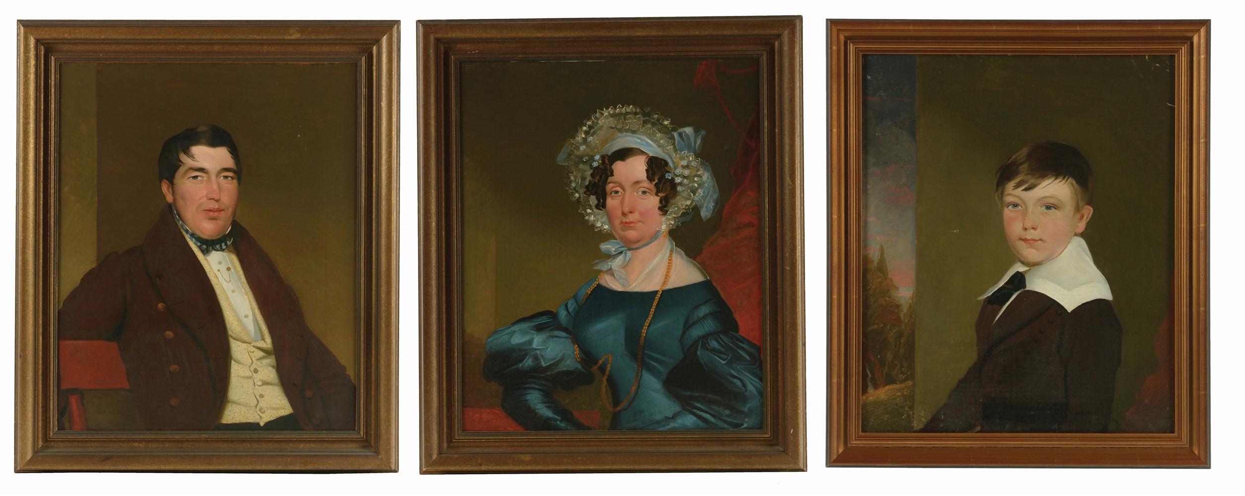 LOT OF 3: PAIR OF ENGLISH SCHOOL (EARLY 19TH CENTURY) PRIMITIVE PORTRAITS OF MR. AND MRS. CHARLES SHEPPARD AND SON.