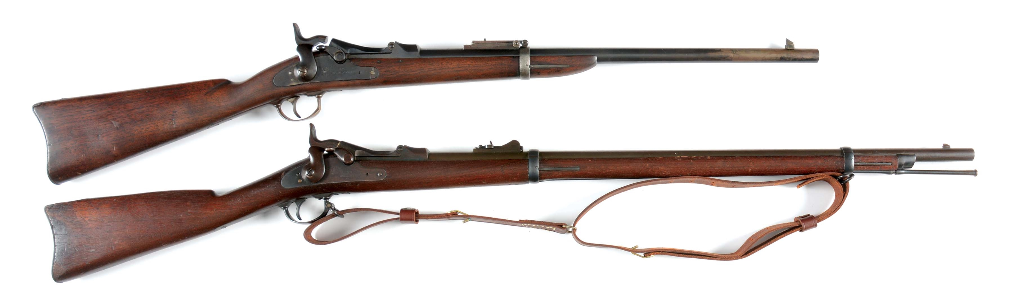 (A) LOT OF TWO: SPRINGFIELD TRAPDOOR .45-70 RIFLE AND CARBINE.