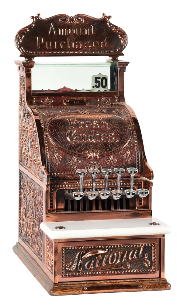 NATIONAL CASH REGISTER CO. MODEL #216 WITH ORIGINAL TOP SIGN AND ORIGINAL BREAST PLATE.