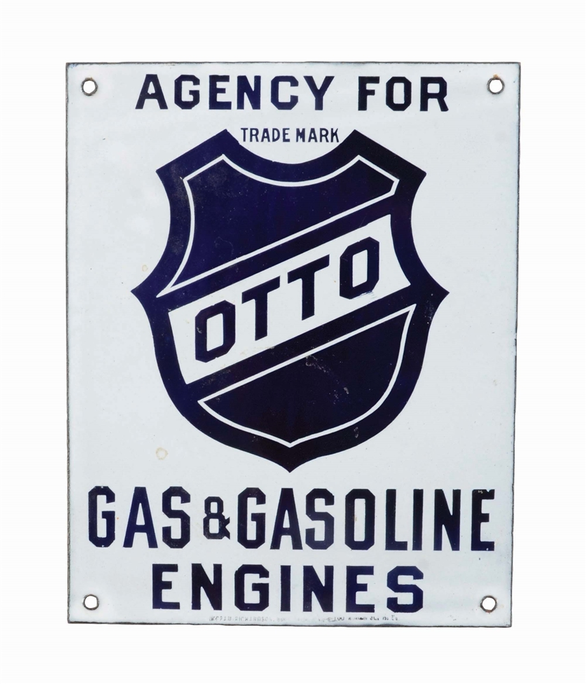 AGENCY FOR OTTO GAS & GASOLINE ENGINES PORCELAIN SIGN.