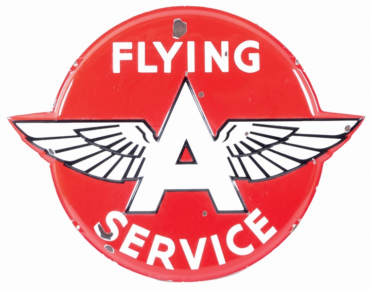 FLYING A SERVICE DIE CUT EMBOSSED PORCELAIN SIGN W/ WING GRAPHIC.