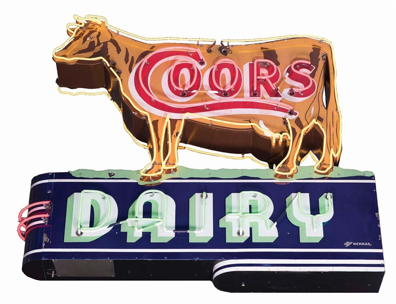 COMPLETE COORS DAIRY DIE CUT PORCELAIN COW NEON SIGN W/ BULLNOSE.