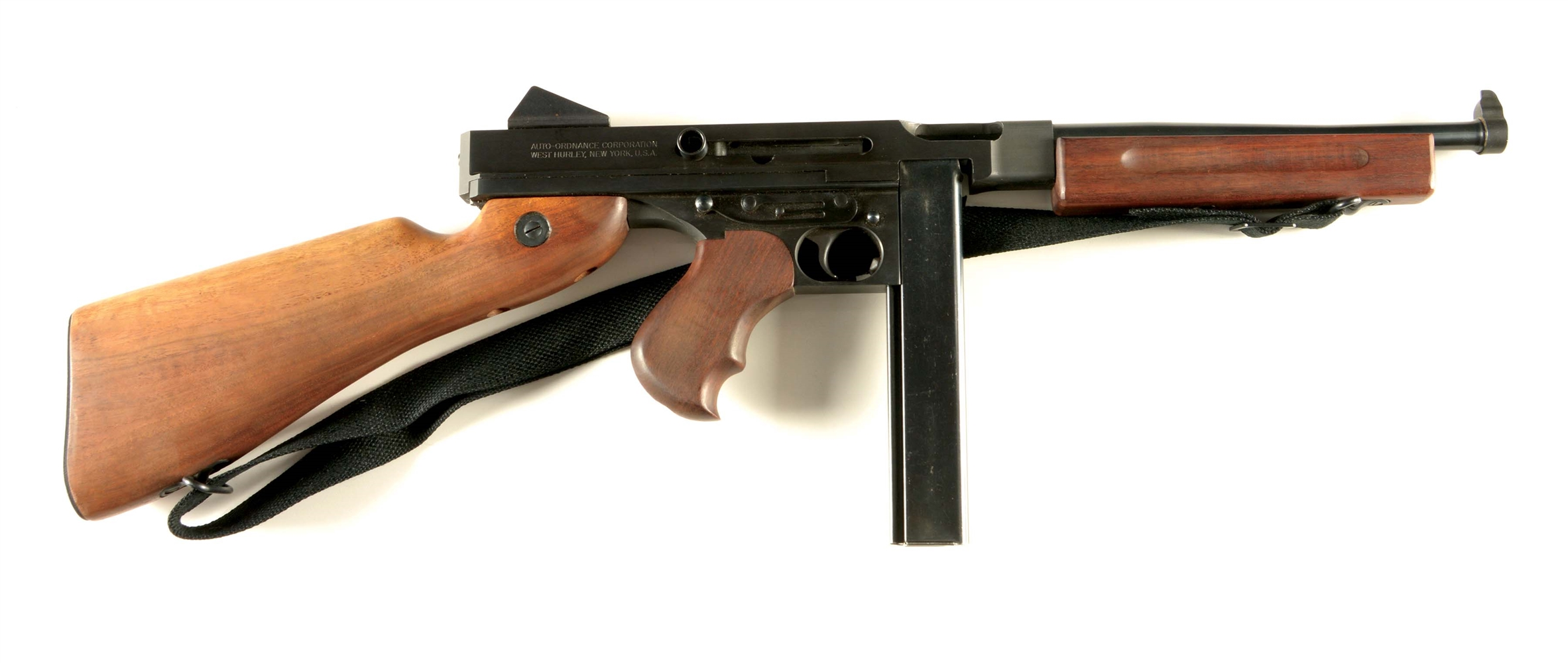(N) FANTASTIC NEAR MINT AUTO ORDNANCE WEST HURLEY THOMPSON MACHINE GUN IN M1A1 CONFIGURATION (CURIO AND RELIC).