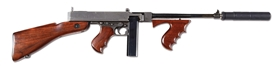 (N) AUTO ORDNANCE BRIDGEPORT 1928 THOMPSON SPECIALLY FITTED WITH CUSTOM MADE FRONT SIGHT AND KNIGHT'S ARMAMENT SILENCER (CURIO & RELIC).