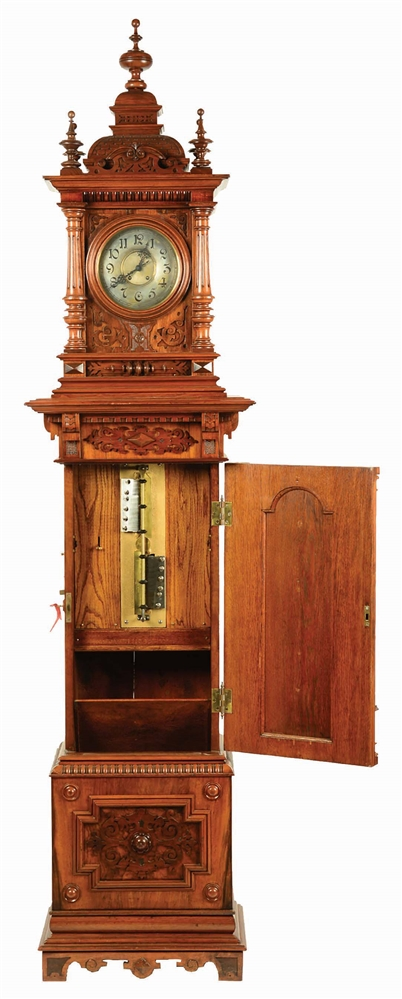 "13 5/8"" SYMPHONION TALL CASE MUSICAL CLOCK."