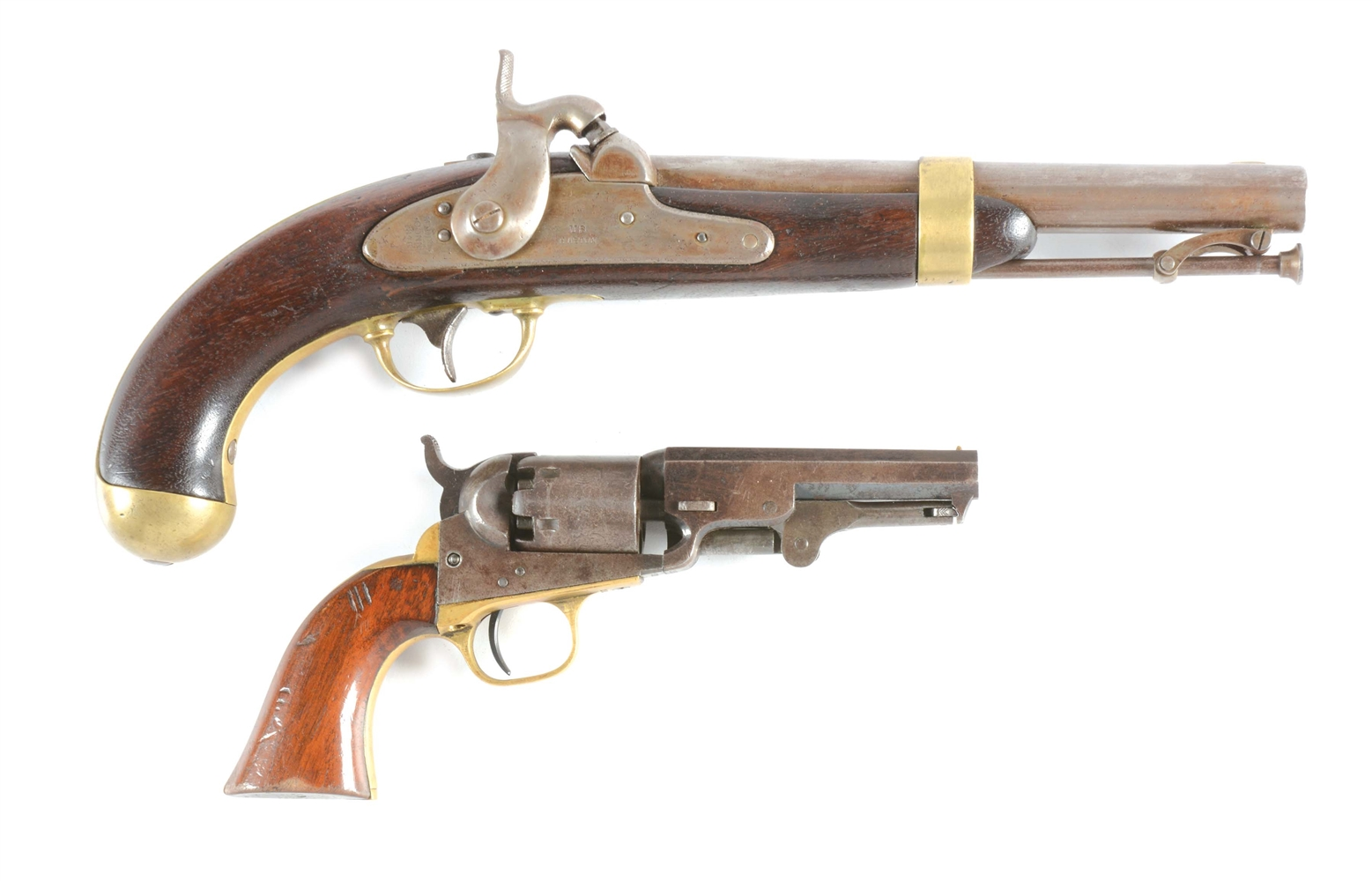 (A) LOT OF 2: US PERCUSSION PISTOLS - ASTON MODEL 1842 AND COLT MODEL 1849 POCKET.