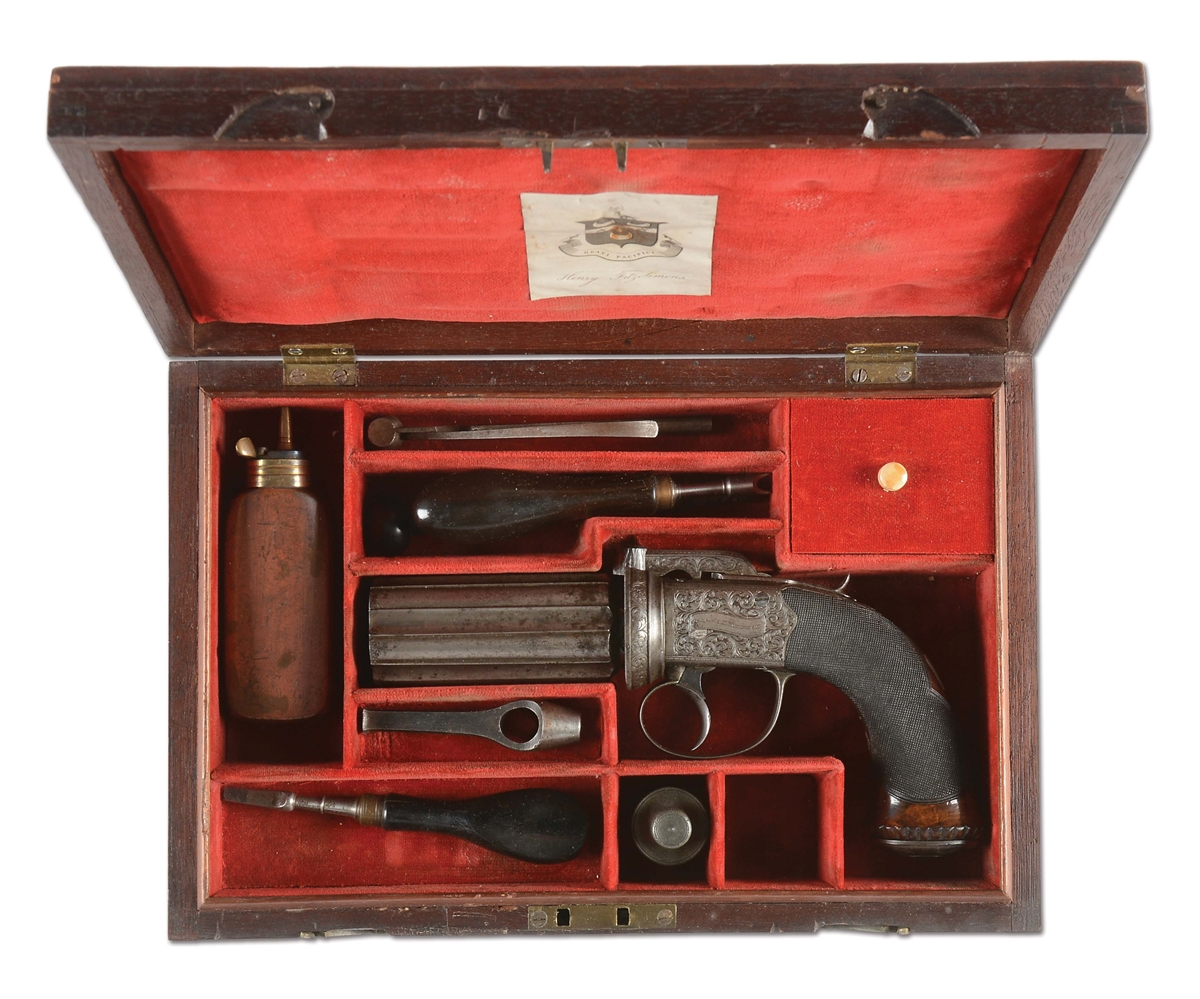 (A) SCARCE CASED IRISH PERCUSSION PEPPERBOX BY COLGAN, LIMERICK.