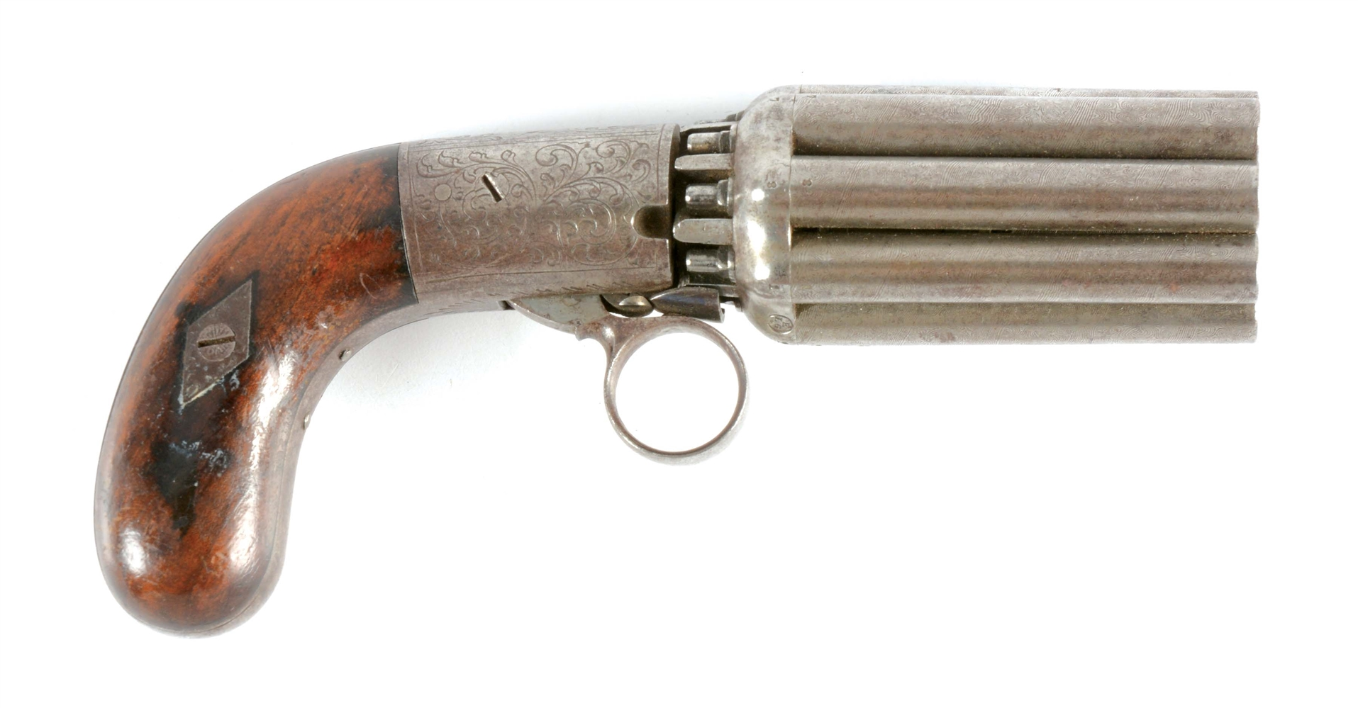 (A) BELGIAN PERCUSSION PEPPERBOX OF THE MARIETTE TYPE.