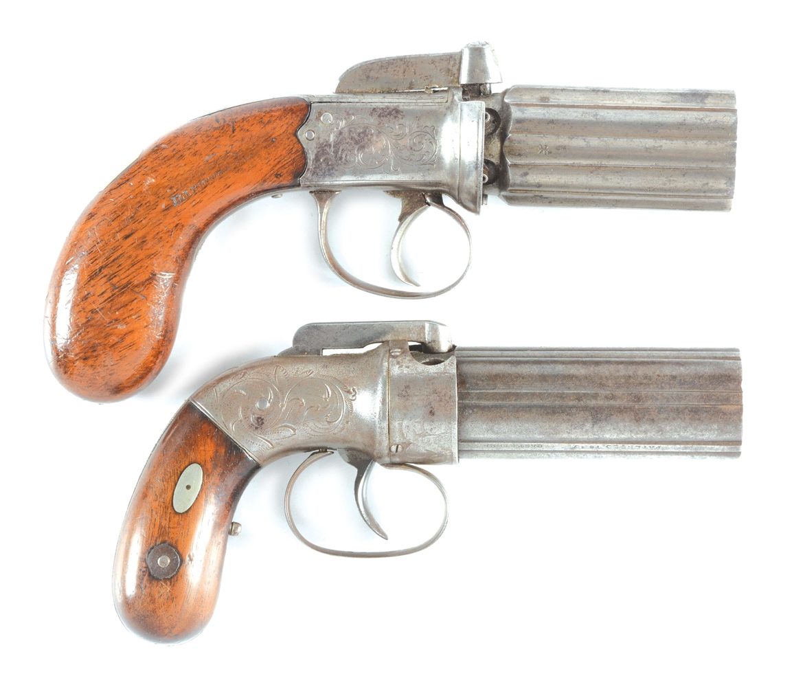 (A) LOT OF TWO PERCUSSION PEPPERBOXES: ONE ENGLISH BY D. EGG AND ONE ALLEN.